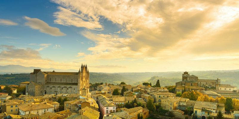 Orvieto medieval town and Duomo cathedral church aerial view. It